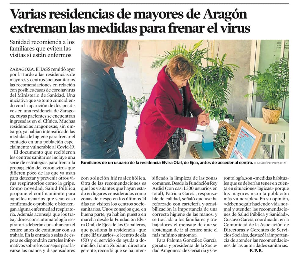 heraldo 7m - La Residencia pide a los familiares que presenten problemas respiratorios no realizar visitas
